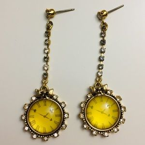 Betsy Johnson vintage gold clock earrings